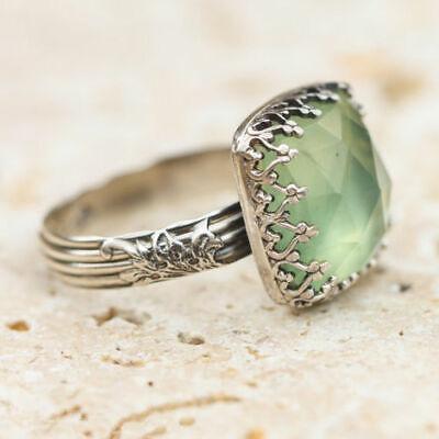 Women 925 Silver Gemstone Vintage Peridot Vintage Moonstone Wedding Ring Sz 6-10 9