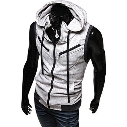designer fashion 086eb 1c4d3 HERREN ÄRMELLOS HOODIE Sweatshirt Kapuzen Pullover Kapuzenpullover  Sweatjacke