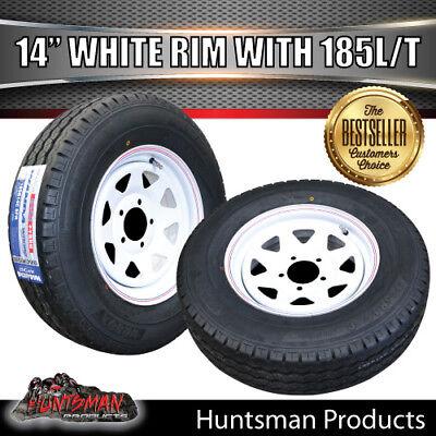 14 x 6 185 LT HT Sunraysia Wheel Rim & Tyre White Caravan Trailer Boat 185R14