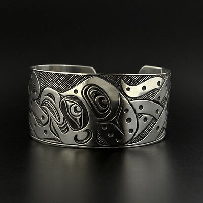 1 Of 4 Uni Octopus Cuff Bracelet Hand Engraved Sterling Silver Oxidized Native Art