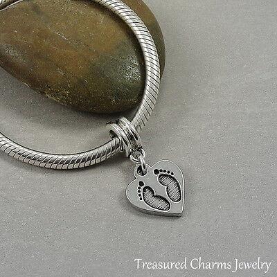 Silver HEART FOOTPRINT Baby FEET Dangle Bead CHARM fits EUROPEAN Bracelet *NEW*