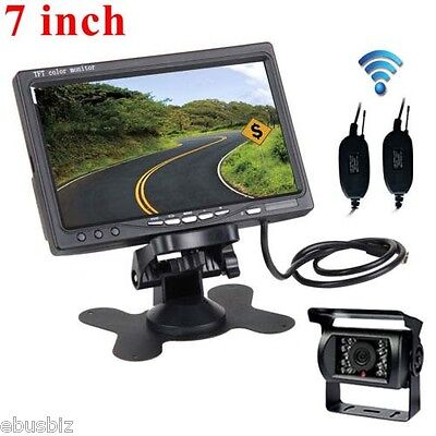 """Wireless Rear View Back up Camera Night Vision System+7"""" Monitor fr RV Truck Bus"""
