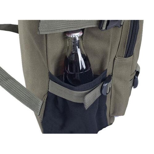 Men Vintage Canvas Backpack Rucksack Travel Hiking Schoolbag Laptop Camping Bag 10