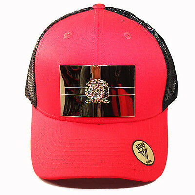 Dominican Republic Trucker Snapback Hat Red Black Gold badge by Pedrini Queens