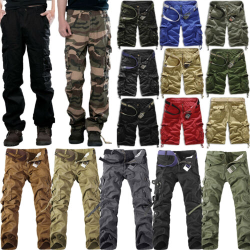 Mens Cargo Shorts Pants Army Combat Tactical Military Long Trousers Multi-Pocket 2