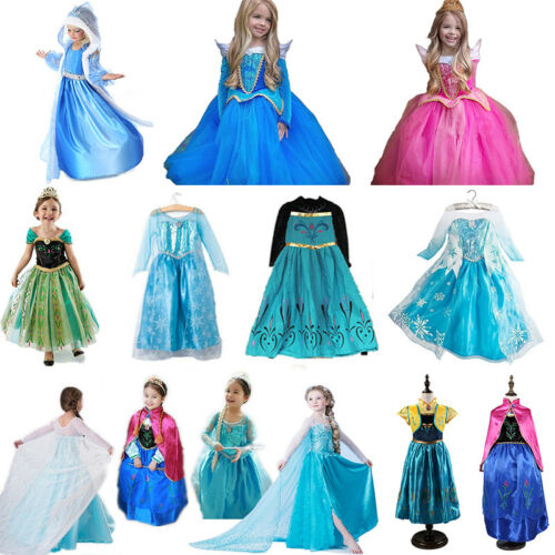 Princess Belle Cinderella Costume Party Gown Dress Frozen Girl Kid Child Dresses 5
