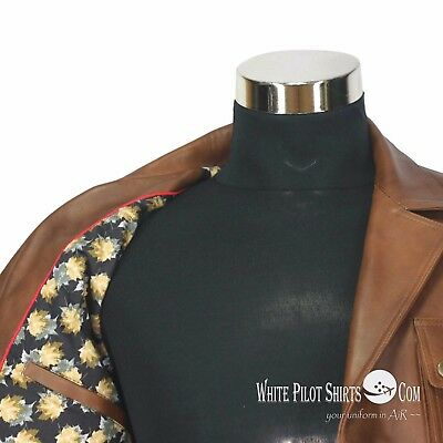 Douglas Blazer Leather Jacket Men Military style Vintage Antique Brown 4 pockets 6
