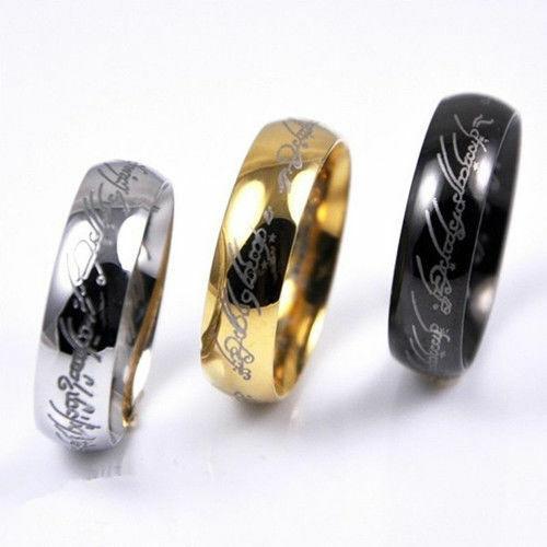 Señor de los anillos titanio banda de acero anillo 6MM moda 2