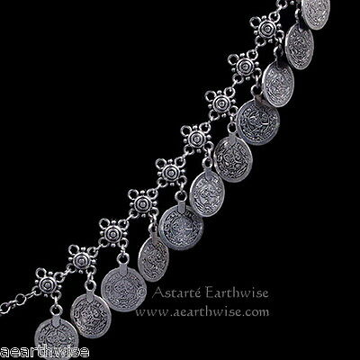 ANKLET -  SILVER WITH METAL COINS Wicca Witch Pagan Belly Dance Goth Hippie 6