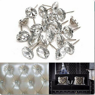 20pcs Sofa Headboard Wall Decor Tacks Crystal Charm Upholstery Nails 20 x 33mm