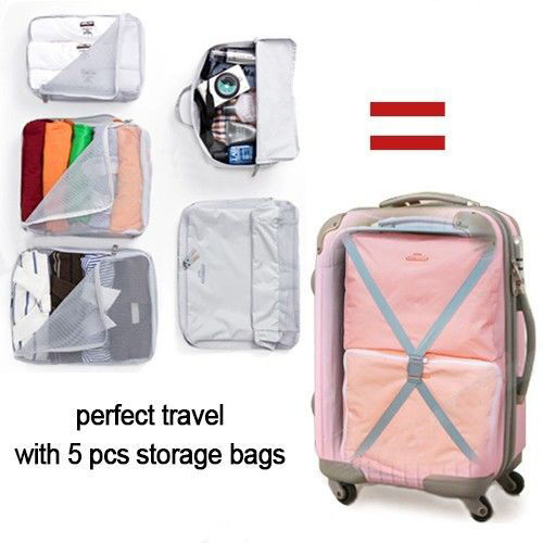 5pcs Packing Cube Pouch Suitcase Storage Bags Clothes Travel Luggage Organizer 2