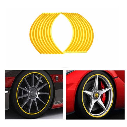 17 x Bike Motorrad Auto-Rad-Reifen-Aufkleber Reflektierende # Rot A2Q8