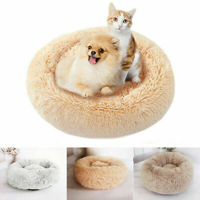 Pet Dog Cat Calming Bed Round Nest Warm Soft Plush Comfortable Self Sleeping AU 3