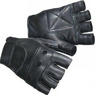 Gothic Biker Black Gloves With Holes Real Leather Cycling Driving Fingerless