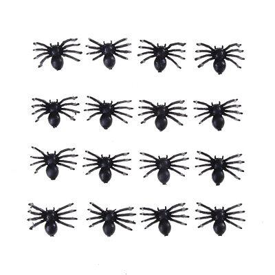 50x Halloween Streich Stützen schwarze Plastik gefälschte Spinnen Spielwaren ZBD