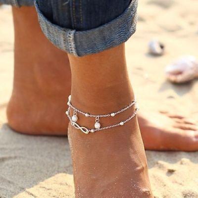 Womens Ankle Bracelet 925 Sterling Silver Anklet Foot Chain Boho Beach Beads UK 7
