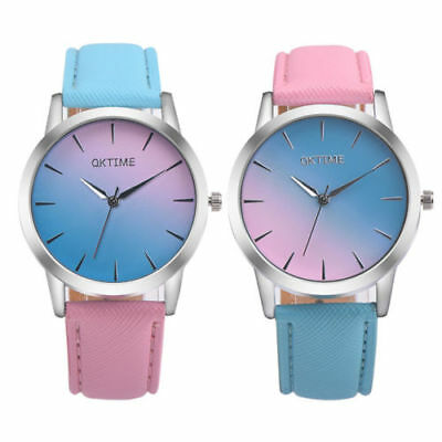 Fashion Ladies Women Two Colour Rainbow Band Ladies Analog Quartz Wrist Watch 4