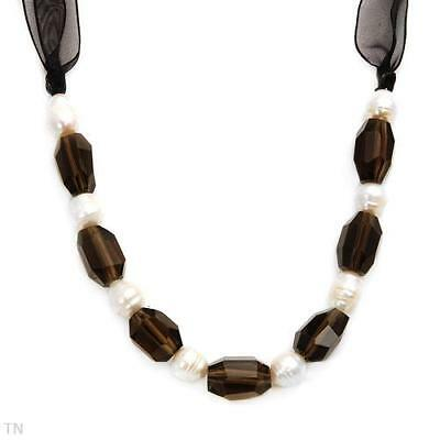Stunning Genuine Smoky Topaz And Freshwater Pearl Organza Necklace 2