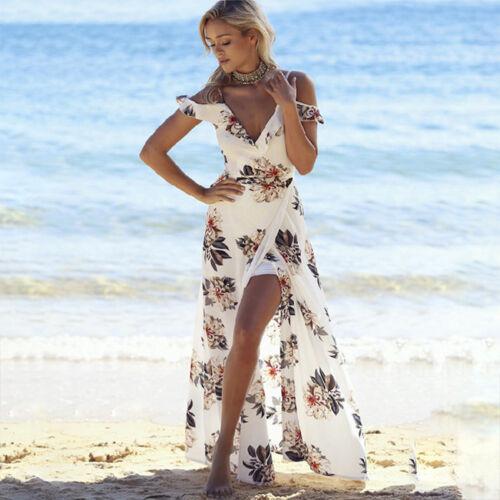 cefe06a5052550 Damen V-Ausschnitt Strandkleid Lang Kleider Maxikleider Boho Sommerkleid  Absend 9 9 von 11 ...