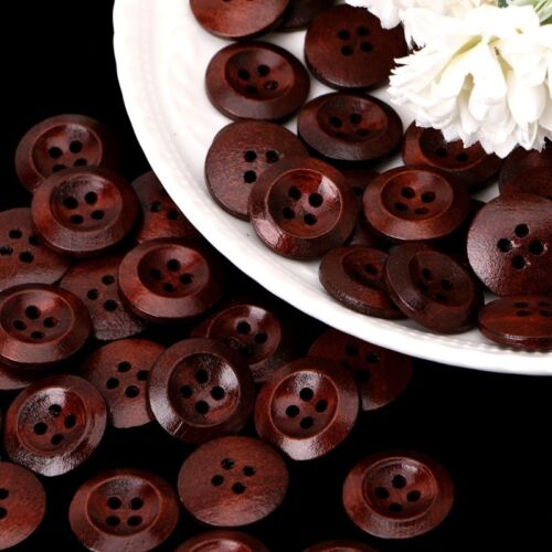 50 Pcs Wooden 4 Holes Round Wood Sewing Buttons DIY Craft Scrapbooking 10-25mm 4
