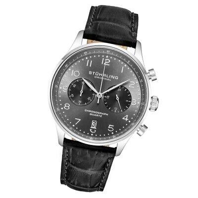 Stuhrling Original 896 02 Monaco Gr1 Q Chronograph Date Black