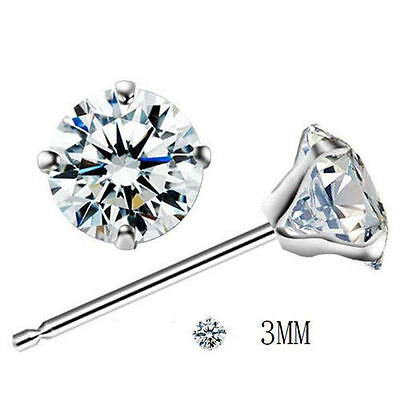 Fashion Woman Silver Plated Round Cubic Zirconia Crystal Stud Earrings Jewelry 9