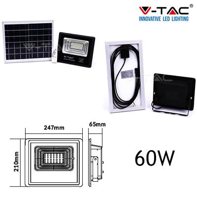 Faro Energia Solare Led Con Pannello Faretto Crepuscolare + Telecomando V Tac 6