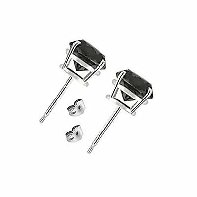 2 Carat 6MM Round Black CZ 925 Silver White Gold Plated Stud Earrings 3