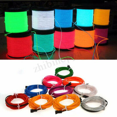 2M 10M LED Flexible Neon Light Glow EL Strip Tube Cool Wire Rope Home Car Decor 2
