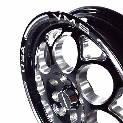 "2 RIMS 15X3.5/"" VMS RACING MODULO SKINNY BLACK SILVER WHEELS 4X100 4X114 ET10"