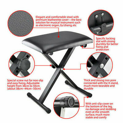 Portable Piano Stool Adjustable 3 Way Folding Keyboard Seat Bench Chair Black 3