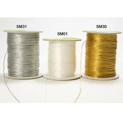 Metallic STRING SILVER, GOLD & WHITE 5, 10 & 20 Met Lengths 1mm Cord & Flat BR9
