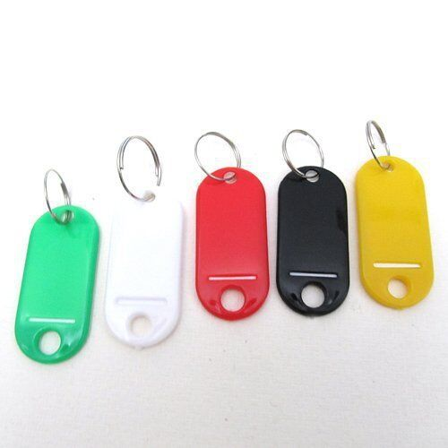 10~100 PCS Key Tags With Ring Keychain Key ID Label Luggage Name Tag Plastic 3