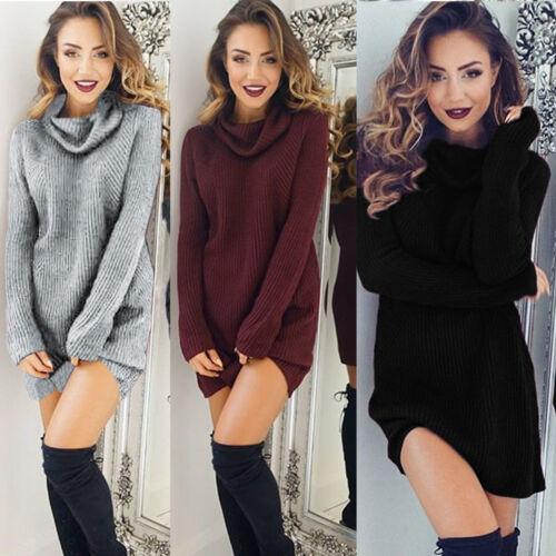 donna manica lunga a maglia aderente maglione vestito invernale Festa Mini