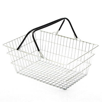 2 Handle Black Wire Shopping Basket Retail Supermarket Use Hand Carry Mesh 4