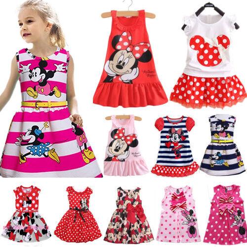e755f28afa689d TOUT-PETIT ENFANTS FILLES Dessin Animé Minnie Mouse Robe Soirée sans Manche  Jupe
