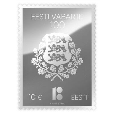 NEW Estonia 2018 Rare SILVER STAMP Nominal 10 Euro 100 Years Estonian Republic 3