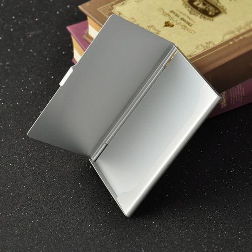 Pocket Edelstahl /& Metall Visitenkartenetui Case Id Geldbörse Silber OFT