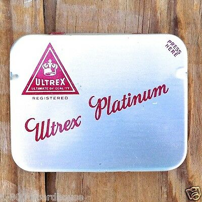 Vintage Full ULTREX PLATINUM Metal Tin 6 1050s Rubber Prophylactic Condoms NOS