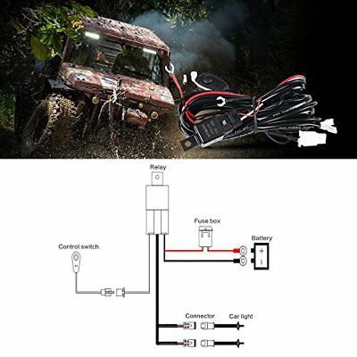 Auxbeam LED Light Bar Wiring Harness Kit 12V 40Amp Fuse Relay ON/OFF Switch for 2
