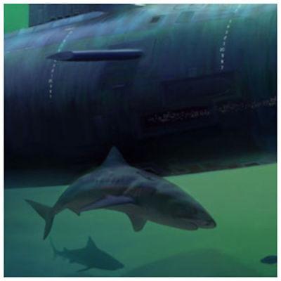 "Virginia Class Submarine /""Realm of the Sharks/"" Mark Karvon 24/"" Giclee Print"
