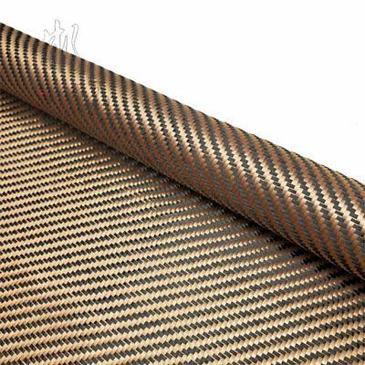 Champagne gold + Black Aramid Carbon Fiber Blended Fixed cloth 200gsm 240gsm 4