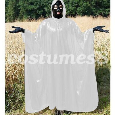 100% Latex Rubber Full-Body Long Coat Hooded Rain Catsuit Fashion Size S-XXL 7