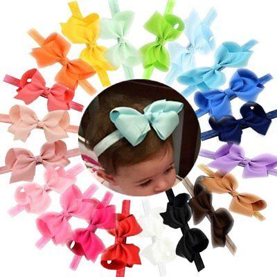 20Pcs Baby Girls 4.5 Inch Mix Hair Bows Headbands Big Bow Hair Bands for Toddler 2