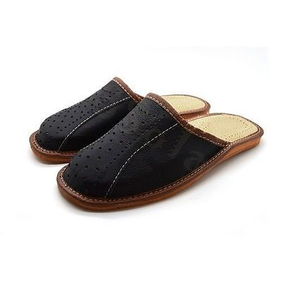 Mens Leather Slippers Mules Black Size 6 7 8 9 10 11 12 Flip Flop Sandals UK