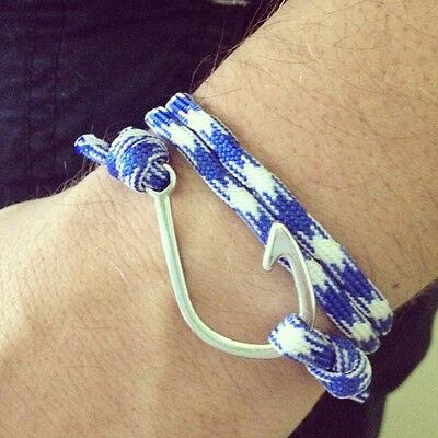 Bracciale uomo ancora con corda nautica nodo in braccialetto da amo paracord blu 5