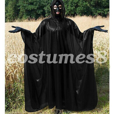 100% Latex Rubber Full-Body Long Coat Hooded Rain Catsuit Fashion Size S-XXL 3