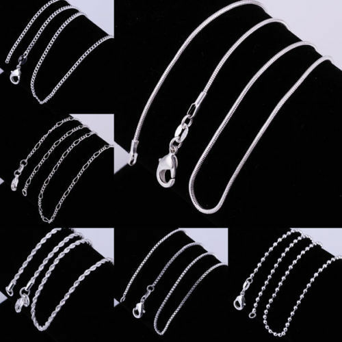 """925 Sterling Silver Figaro Snake Rolo Box Chain Necklace Unisex Jewelry 16""""-30"""" 6"""