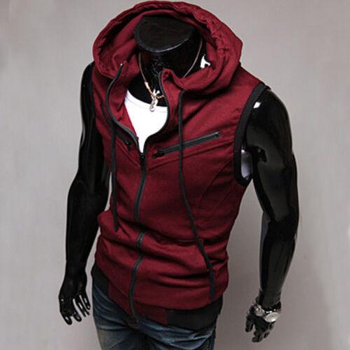 size 40 fcc3c 022bf HERREN HOODIE ÄRMELLOS Kapuze Weste Sweatshirt Gym Sports T-Shirt  Sweatjacke Top