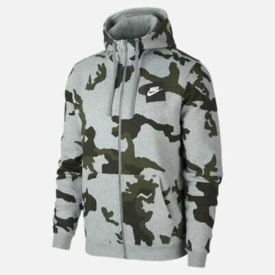 NIKE MENS NEW Aw77 Foundation Hoodie Hooded Top Camo Full